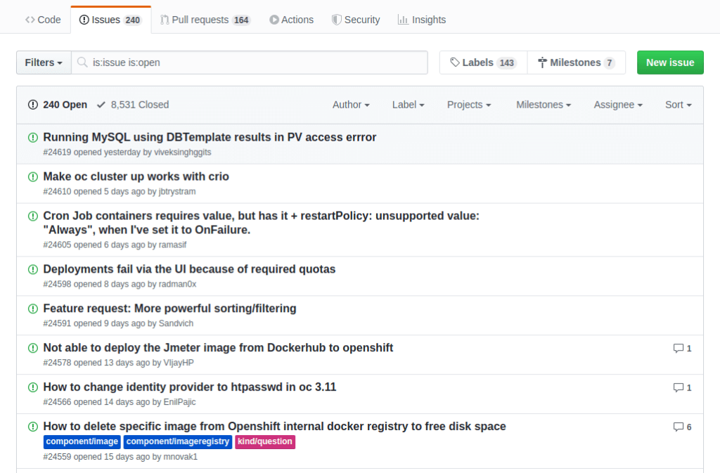 Ejemplo de issues en un proyecto open source (Github)